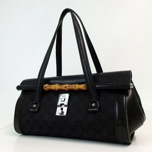 Auth Gucci Gg Pattern Bamboo Handbag #1648G94